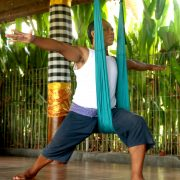 aerial yoga poses for stress warrior pose