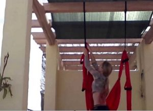hanging a yoga trapeze