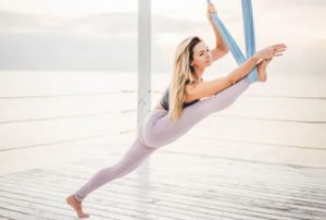 aerial yoga practice - splits