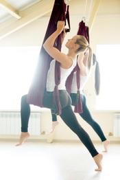 aerial yoga practice - aerial lunges