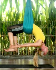 Morning Aerial Yoga Poses - Inverted Bow Pose